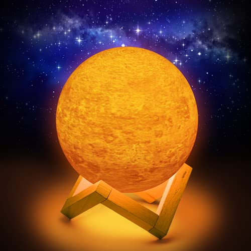 Planeten Lampe,15CM Venus Lampe,Planeten Deko 16 Farben, Led Planet mit Holzständer und Aufhängenetz, Fernbedienung und Touch-Steuerung, Planeten Modell und Planeten Kinder