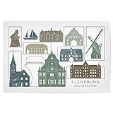artboxONE Poster 45x30 cm Städte Flensburg Skyline, Navy -