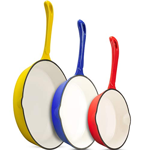 Klee Enameled Cast Iron Skillet with Pour Spout Set of 3 7inch 85inch 10inch