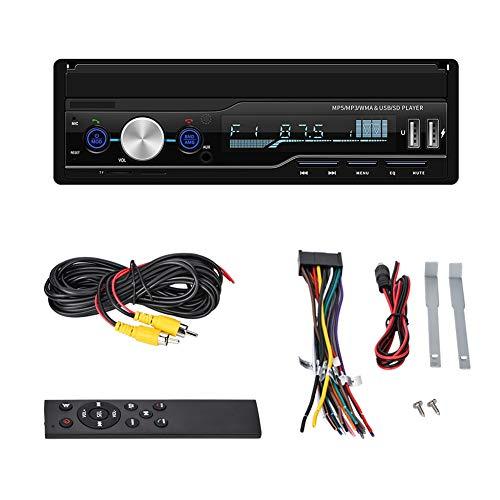 Zerone Stereo Auto MP5 Multimedia Player Auto MP5 einziehbar mit Halterung für MP3-Player Touchscreen/Rückfahrkarte/TF/AUX/USB mit Fernbedienung