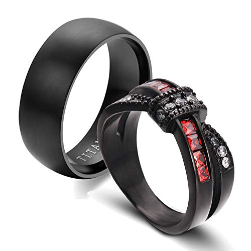 IOU 2pc Two Rings His Hers Wedding Ring Sets Couples Rings Women's Black Gold Plated Red CZ Wedding Engagement Ring Bridal Sets Men's Titanium Wedding Band