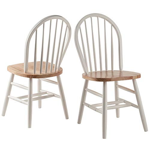 Winsome Wood Windsor 2-PC Set RTA White & Natural Chair