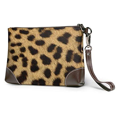 baowen Bolso de mano de cuero con estampado de leopardo para mujer bolso de mano grande cuadrado con correa elegante y duradero