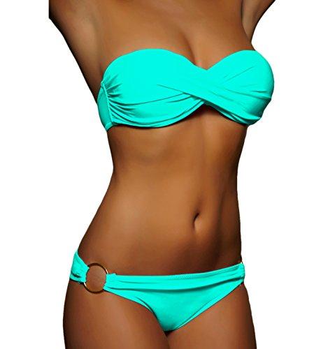 ALZORA Twist Push Up Bandeau Bikini Set Damen Pushup Badeanzug viele Farben und Größen (S, A1-1-Türkis)
