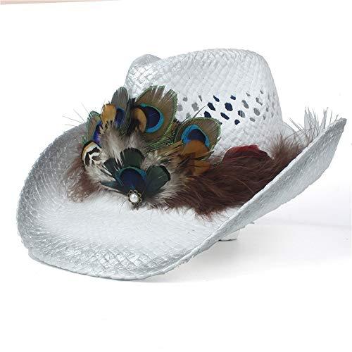 ZHANGJINPING 2020 handgefertigte Damen-Strohhut Westernhut Cowboyhut Sommer Dame Strand Feder Sombrero Hombre Stroh Panama Cowgirl Jazz Sonnenhut (Farbe: Silber, Größe: 56-58)