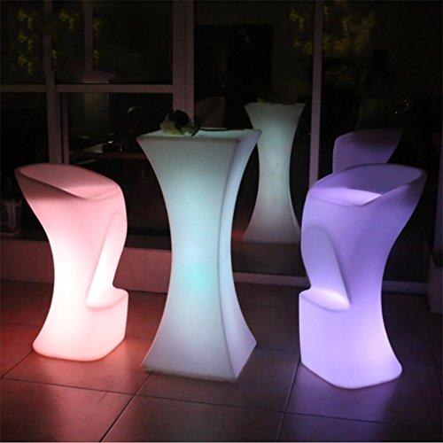 Xinye LED Lumineux Table et 2 chaises en plastique étanche rechargeable avec télécommande