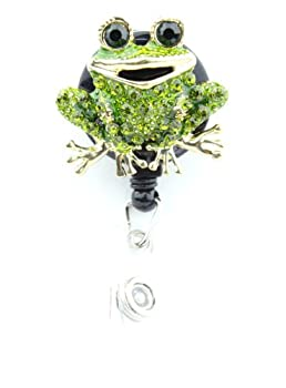 Green Toad Frog ID Badge Holder w/Retractable Pull Reel & Crystal Rhinestone