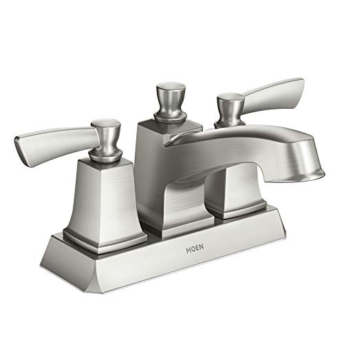 Moen WS84922SRN Conway Two Handle Centerset Bathroom Faucet with Drain Assembly, Spot Resist Brushed Nickel