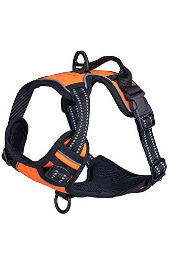 Sean's Store No Pull Dog Harness No Choke Front Lead Dog Reflective Harness, Adjustable Soft Padded Pet Halter Vest with Easy Control Handle for Small to Large Dogs (Orange Harness, Small)