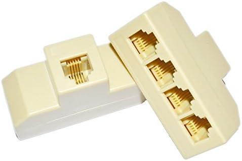 SMITON 2PCS RJ11 1 to 4 Splitter Telephone Splitter Adapter Cable