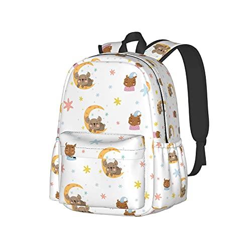 Zaino leggero casual con spalle, simpatici gufi Koala Fiocco di neve che dorme sulla luna Libri di moda Zaini per laptop Zaino da viaggio per scuola College 16,9 pollici