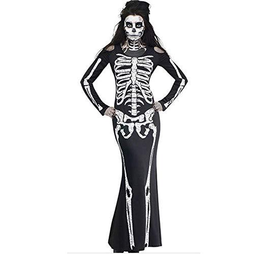 Ropa De Dormir Conjunto Sexy Disfraces De Miedo para Mujer Body De Esqueleto Halloween Carnaval Ghost Zombie Party Stage Performance Festival Outfit Skull Dress-01_SG