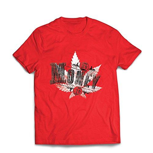 lepni.me Camisetas Hombre Sin Dinero Sin diversión - Hoja de Cannabis - Fumar Hierba - Citas conjuntas - Lema de Marihuana (Large Rojo Multicolor)