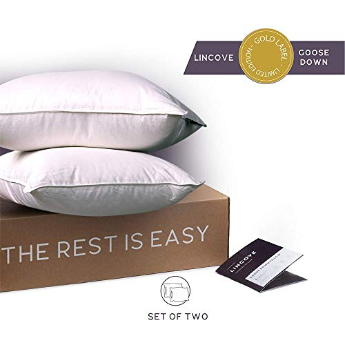 Lincove White Down Luxury Sleeping Pillow Set of 2-800 Fill Power, 600 Thread Count Cotton Cover (King - Firm)