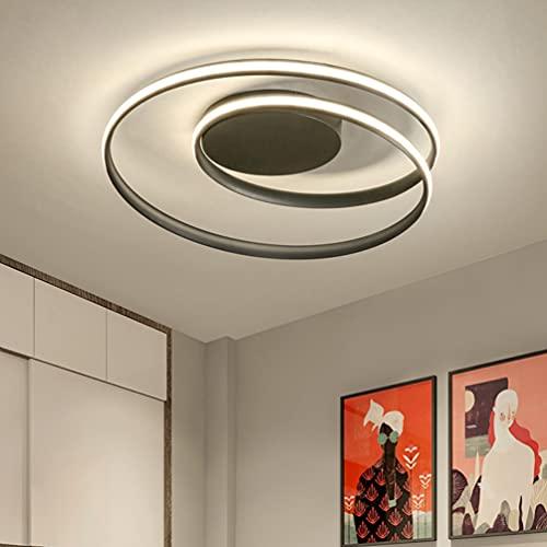 Lámpara LED de techo redonda para salón, lámpara de techo decorativa para habitación juvenil, pantalla acrílica, regulable, diseño clásico moderno, iluminación interior, color blanco y negro