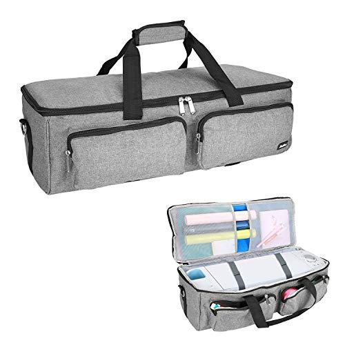 ProCase Tragetasche Plotter Reise Tasche für Cricut Explore Air Cricut Maker (Air 2 Silhouette Cameo 3), Faltbar Aufbewahrungstasche Schultergurt für Hobby Plotter und Zubehör (Nur Die Tasche) -Grau