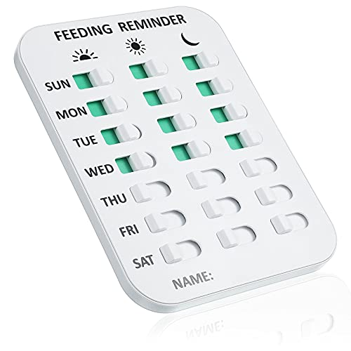 Frienda Dog Feeding Reminder Pet Feeding Chart Magnetic Dog Food Tracker 3 Times a Day Dog Feed Chart with Stickers Daily Indication Double Sided Tape Magnets Easy to Mount Care Dog Cat Puppy