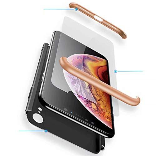 Fanxwu Compatible con Funda Samsung Galaxy A50 Caso 3 en 1 combinación 360 Grados de Protección Case [Protector de Pantalla de Vidrio Templado] Resistente a Los Arañazos Cáscara - Oro y Negro