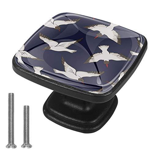 4 tiradores cuadrados para gabinete y pomos de cajón/muebles con tornillos, fondo blanco de color azul marino