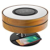 4-in-1 Smart Desk/Bedside/Table Lamp with Bluetooth Speaker, Wireless Phone Charger, and Digital Clock, Touch-Control, Stepless Dimming, Sleep Mode