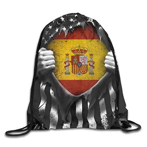 JHUIK Bolso con cordón Mochila Escolar mochilaMochila con cordón de la Bandera española Americana, Mochila de Bolsa de Cuerda Mochila de Viaje para Gimnasio Compras Deporte Yoga