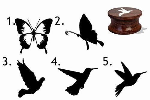 IMPACT2PRINT Sellos personalizados de madera y acrílico con diseño de mariposas y pájaros, ideal para regalo