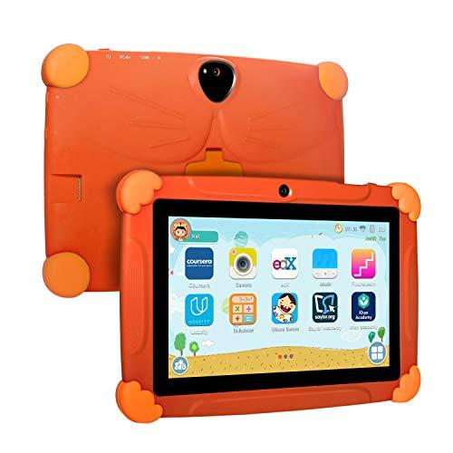 Xgody Kinder-Tablet, 17,8 cm (7 Zoll), Kindersicherung, Kindersicherung, Android 8.1 GMS, 16 GB, Quad Core, Blau orange Orange 7