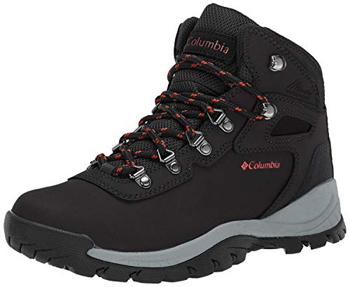 Columbia Women's Newton Ridge Plus Hiking Boot, Black/Poppy Red, 6 Regular US