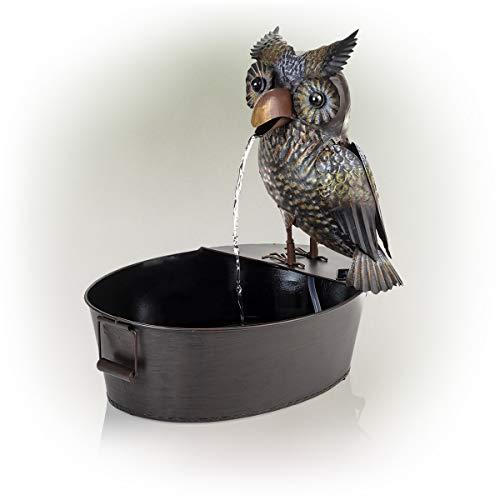 Alpine Metal Owl on a Tin Fountain, 23 Inch Tall