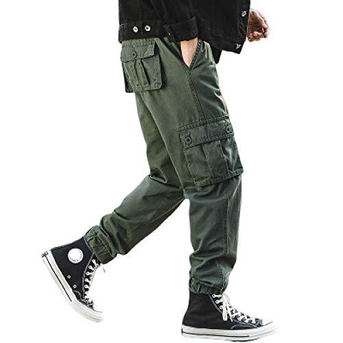 Zestion Pantalones Casuales para Hombre Pantalones de Trabajo de Combate de Carga Resistente al Desgaste Durable con Bolsillos con cordón Pantalones Harlan Large