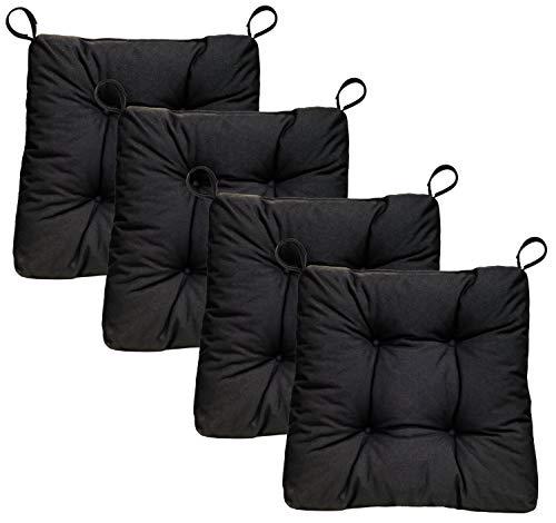Traumnacht Stuhlkissen Premium 4er Set, 38 x 40 x 7 cm, schwarz
