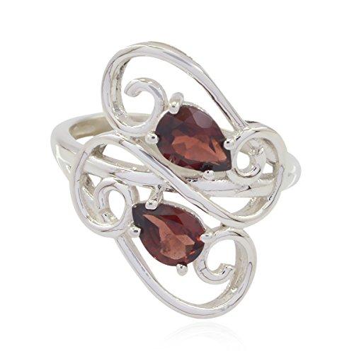 schöne Edelsteine Birne facettierten Granat Ring - Sterling Silber rote Granat schöne Edelsteine Ring - jetzt Trending gut verkaufen Artikel Geschenk für Mutter Name Ring