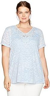Ruby Rd. قميص نسائي مقاس كبير بنسيج منقوش بأكمام قصيرة ورقبة مزينة