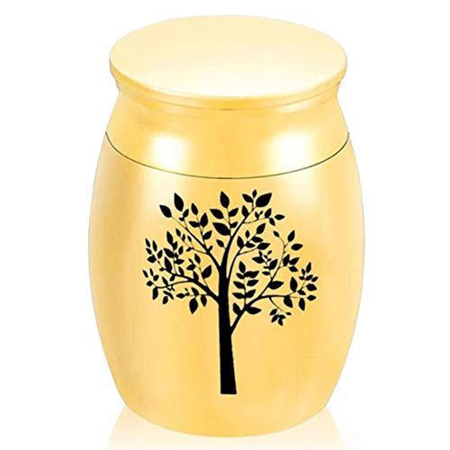 ukoudadao9haowanh Kleine Urnen für die menschliche Asche, Mini-Urnen für Asche, Legierung, Lebensbaum, Gedenkstätte gold