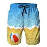 Photo de Men's Swim Trunks Beach Board Shorts Ball Beach Ocean Wave Sandy Colored inscrip par