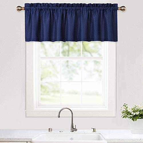 Haperlare Kitchen Curtain Valance, Waffle Weave Textured Valance Curtains for Windows, Water ResistantValance Curtain for Bathroom Rod Pocket Kitchen Cafe Curtains, 60' x 15', Navy Blue, One Panel