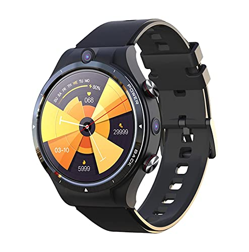 YQCH 4G LTE SIM Call Smart Watch Android 10.7 4G 128GB Smart Watch Teléfono TV Bluetooth 5.0 WiFi GPS Dual Carmera Calorías Pasos Fitness Tracker Deportes Pulsera con 900mAh Power Bank