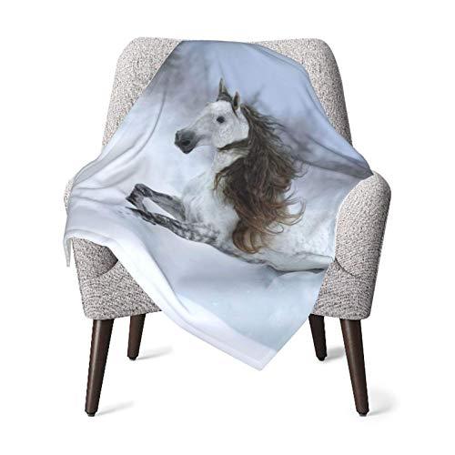 Manta de recepción para mantas, gris, crin larga, pura raza, caballo español, galopando durante el bebé, manta de lana suave y cálida, recién nacido, manta de recepción para cochecito de cuna,