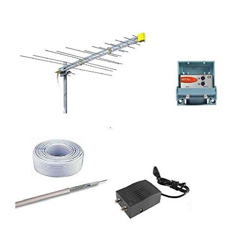 Kit antenne numérique terrestre DVBT HD logarithmique Offel avec amplificateur offel, alimentation offel, câble TV et fiches F 30 mètres