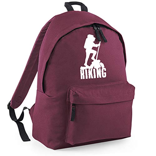 Hiking Hikers Climbing Funny Backpack Rucksack Dimensions: 31 x 42 x 21 cm Capacity: 18 litres Ruck Sack -Maroon