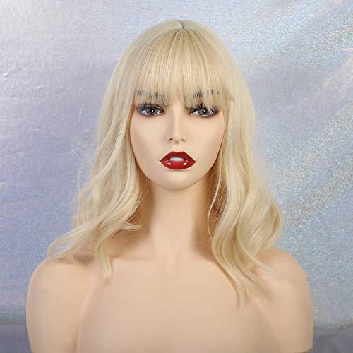 Mode Mädchen Wigs blonde Bob Perücken mit Pony kurz gewellt Mittellange Täglich Damenperücke Cosplay Anime Perücke für Frauen Weißblond/Gelb