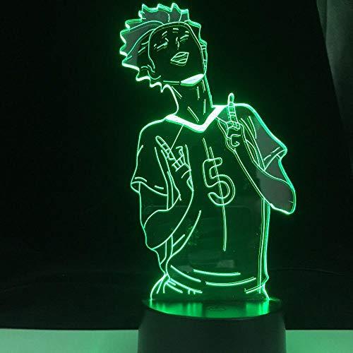 Lámpara de noche 3D para niños y niñas Haikyuu Anime 3D Tanaka Ryuunosuke luz para niños dormitorio decoración LED luz nocturna regalo de cumpleaños manga Gadget lámpara de mesa 16 colores