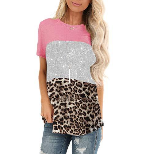 Briskorry Damen Kurzarm T-Shirt Sommer Beiläufig O Hals Leopardenmuster Paillette Tunika Elegant Tops Blusen
