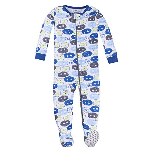 Lamaze Organic Baby Boys Stretchie One Piece Sleepwear, Baby and Toddler, Footed, Zipper, Blue and Grey Emojis, 3T