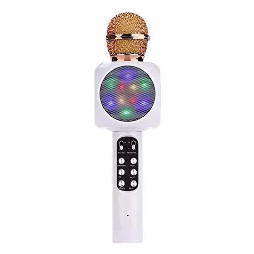 XiaoDong1 Teléfono Canción K Ktv Micrófono Micrófono Condensador De Micrófono Inalámbrico Bluetooth 26 * 5cm (Color : White)