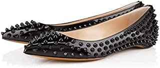 Ladies Elegent Pointed Toe Rivet Studded Ballet Flat Shoes for Wedding Party Black