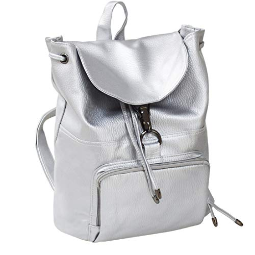 PU Leather Backpack, WITERY Women's Casual Daypack Premium PU Leather Backpack Pretty Fashion Schoolbag Purse Handbags School Bags for Girl Silver