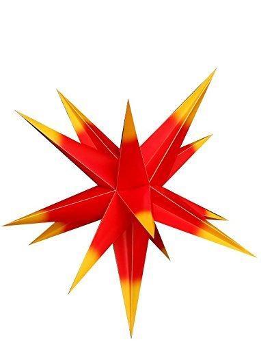 Außenstern 55-60cm wetterfest Rot mit gelben Spitzen für außen Adventsstern Weihnachtsstern Kunststoff - Stern inklusive Außenkabel & Glühbirne