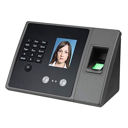 Time Clocks for Employees Small Business, Biometric Fingerprint, Face & Password Recognition Attendance Terminal Clock Machine High-Definition Color LCD Screen