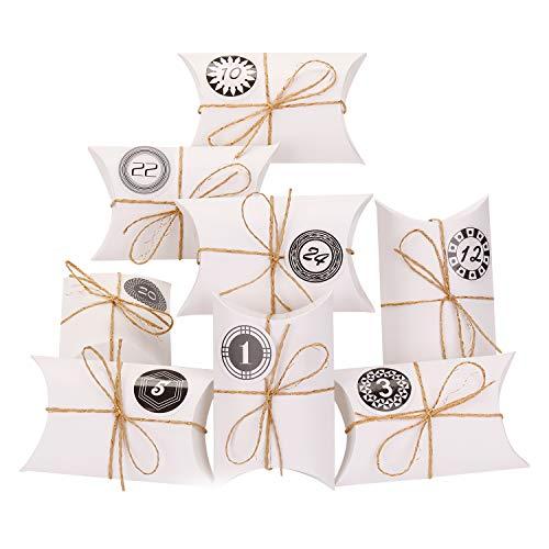 EKKONG Adventskalender zum Befüllen, 24 Adventskalender Kraftpapier Tüten mit 24 Zahlenaufklebern - für Weihnachten zum Basteln und Verzieren, Vintage-Stil Weihnachtskalender Bastelset (Weiß)